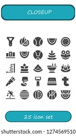 closeup icon set. 25 filled closeup icons. Simple modern icons about  - Bottle opener, Watermelon, Ball, Position, Tennis ball, Fern, Frog, Custard, Bitterballen, Carrot, Tumblr