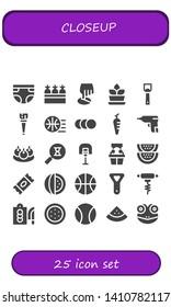closeup icon set. 25 filled closeup icons.  Collection Of - Diaper, Carrots, Position, Fern, Bottle opener, Wooden leg, Basketball, Balls, Carrot, Caulk gun, Bitterballen, Sandclock