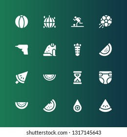 closeup icon set. Collection of 16 filled closeup icons included Watermelon, Blood drop, Diaper, Sandclock, Carrot, Frog, Caulk gun, Football, Ball