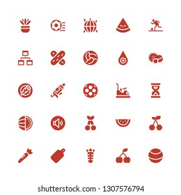 closeup icon set. Collection of 25 filled closeup icons included Ball, Cherry, Carrot, Cutting board, Watermelon, Volume adjustment, Sandclock, Bumper, Caulk gun, Balls, Blood drop