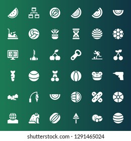 closeup icon set. Collection of 36 filled closeup icons included Ball, Balls, Watermelon, Frog, Tongue depressor, Carrot, Caulk gun, Cherry, Football, Bottle opener, Sandclock