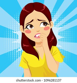 Closeup illustration of woman in fear biting her fingernails anxious comic pop art style cartoon background negative emotion facial expression