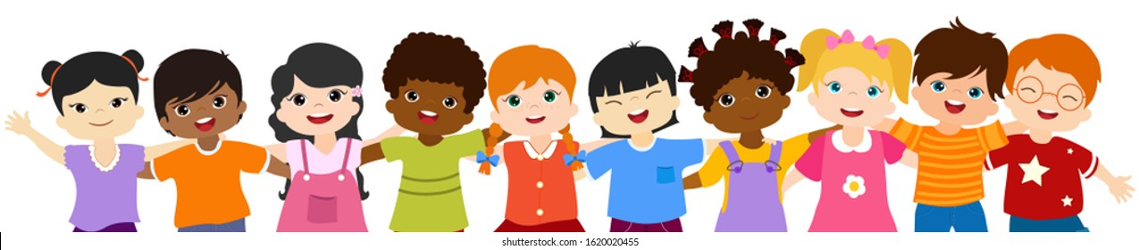 Close-up isolated group of happy and smiling multiethnic children hugging each other.Community or childhood with children of different culture. Multicultural kindergarten. Oneness. Peace. Friendship