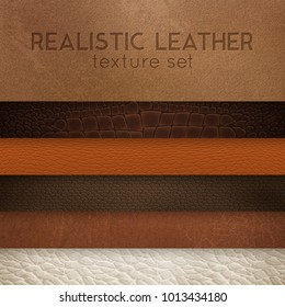 Close-up leather textures samples for furniture upholstery  and interior design horizontal realistic stripes set vector illustration