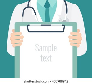 Close-up of a male doctor with lab coat in his office holding a clipboard. Doctor showing blank clipboard to write it on your personal message or advice. Vector illustration