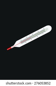 Close-up of a mercury medical thermometer. Illustration on a black background