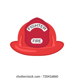 Closeup of modern bright red plastic firefighter's helmet on white background. Isolated vector illustration of protective headgear flat icon