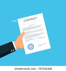 Close-up of person hands with contract agreement. Business concept of contract signing. Vector illustration in flat style.