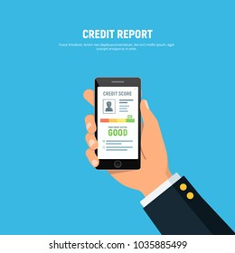 Close-up of person hands holds phone with app of credit score on screen. Concept personal credit rating information. Vector illustration in flat style.