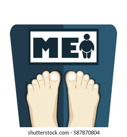 Close-up of a person's feet - standing on weighing scale thinking oneself to be  overweight