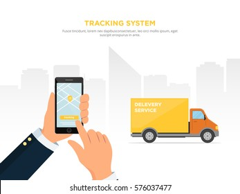 Close-up of a person's hand holds smartphone for tracking delivery. City skyline and truck on the white background. Tracking system. Mobile App. Vector illustration in flat style.