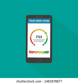 Close-up of a phone with app of credit score on screen. Concept personal credit rating information. Vector illustration in flat style.