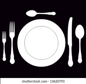 closeup of a place setting with dinner-plate in vector format