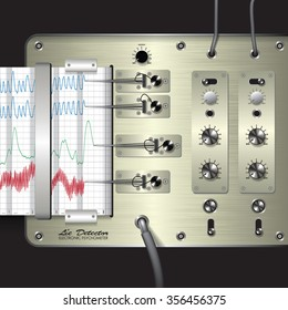 Closeup of a polygraph isolated on background. Vector illustration