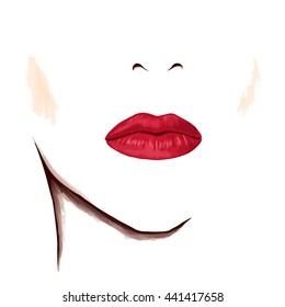Closeup portrait of beautiful woman. Bright sensual lips on blank face. Watercolor digital isolated drawing on white background.