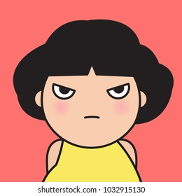 Closeup Portrait Bitter Displeased Pissed, Angry, Cranky, Grumpy Eye Girl Concept Card Character illustration