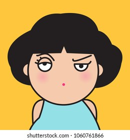 Closeup Portrait Bitter Displeased Pissed, Angry, Cranky, Grumpy Girl Concept Card Character illustration
