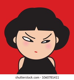 Closeup Portrait Bitter Displeased Pissed, Angry, Cranky, Grumpy Eyes Girl Concept Card Character illustration