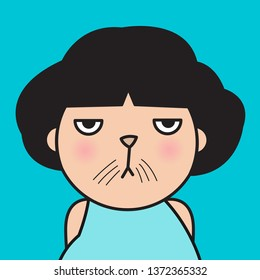 Closeup Portrait Bitter Displeased Pissed, Angry, Cranky, Grumpy Cat Face Girl Concept Card Character illustration