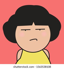 Closeup Portrait Displeased Pissed, Angry, Cranky, Grumpy Facial Expression Girl Concept Card Character illustration