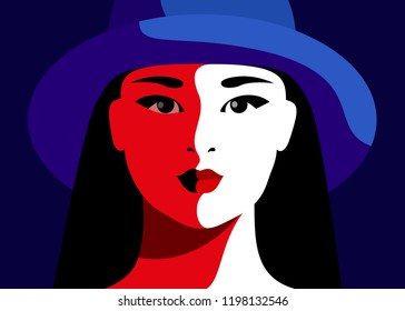 Close-up portrait of modern asian girl wearing hat. Vector illustration
