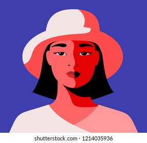 Close-up portrait of modern urban asian girl wearing hat. Vector illustration