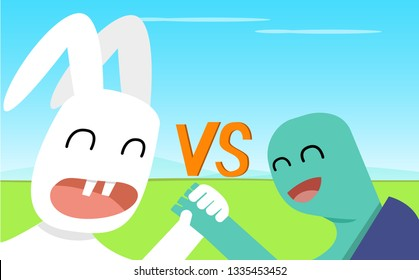 Closeup Rabbit and Turtle shake hands, vector art