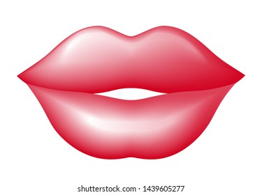 Closeup red lips. Vector illustration isolated on white background. Eps10. RGB. Global color
