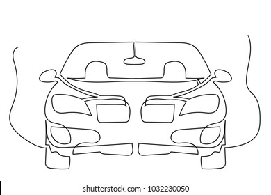Close-up. Sedan car in full face. One continuous drawing of the line drawn by hand.