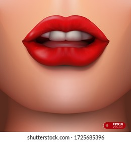 Closeup Sexy Beautiful Red Lipstick Lips. EPS10 Vector