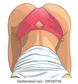 Closeup of a sexy woman's ass. Vector illustration