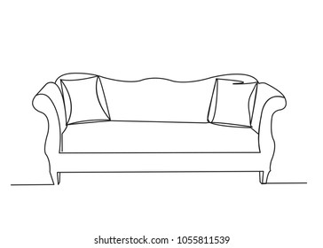 Close-up. Sofa with two pillows. Interior of the living room. One continuous drawing line drawn by hand on a white background.