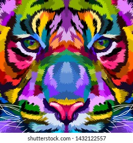 Close-up of Tigers face on abstract pop art style
