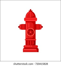Closeup of traditional bright red fire hydrant isolated vector illustration on white background. Tool used by firefighters for extinguishing flames
