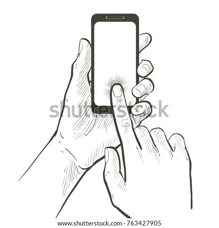 Closeup Two Hands Holding Touching Smart Stock Vector Royalty Free