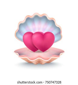 Closeup of two hearts placed inside of big shell, image that symbolises unity of love of couple vector illustration isolated on white