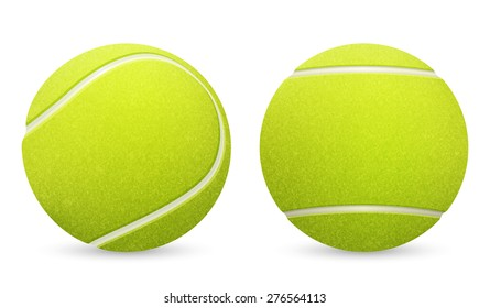 Closeup of two vector tennis balls isolated on white background. Vector EPS10 illustration.