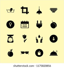 closeup vector icons set. with colander, female gender symbol, nail polish and plug in set