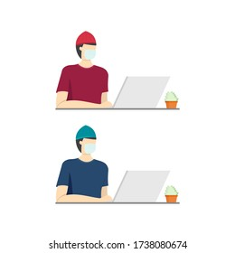Closeup Vector Image of Man Working with Laptop on the Table. Simple Flat Design Illustration. Man Wearing Face Mask . Work from Home during Quarantine Time.