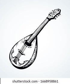 Closeup view of big old pluck strum chord ukulele mandola. Freehand outline black ink pen hand drawn abstract kobza tune logo pictogram emblem design. Retro artist doodle print style paper text space