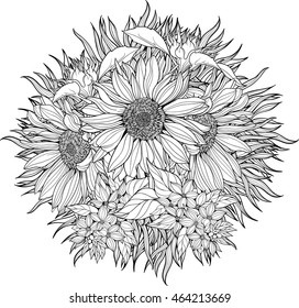 Close-up view of bunch of sunflowers. Coloring page.