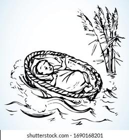 Moisés pequeño en una canasta. Dibujo de vectores