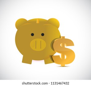 Close-up view of golden piggy bank and dollar currency symbol. bussiness concept illustration. over a white background
