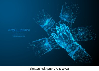 Close-up view on young business people putting hands together. The concept of teamwork, unity, support. Innovative medicine and technology. 3d low poly wireframe model isolated vector illustration.