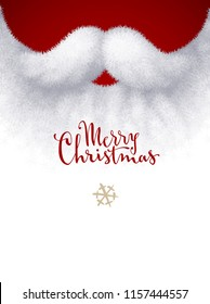 Closeup white Santa beard with Merry Christmas lettering. Eps8. RGB Global colors