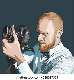 Closeup of young hipster man with digital camera. Vector illustration
