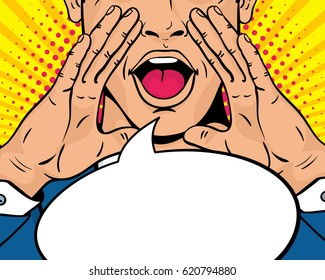Closeup of young surprised pop art man with open mouth and rising hands screaming announcement. Vector background in comic retro pop art style. Party invitation.