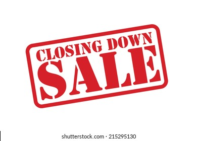 CLOSING DOWN SALE Red Rubber Stamp vector over a white background.