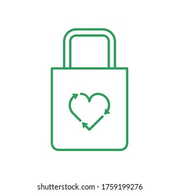 Cloth bag with recycle heart symbol. Love recycling concept. Cotton bag. Line icon. Green outline on white. Go green. Heart with recycle arrows. Eco friendly tote. Vector illustration, flat, clip art