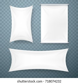 The cloth banner signboard collection transparent background. Vector illustration